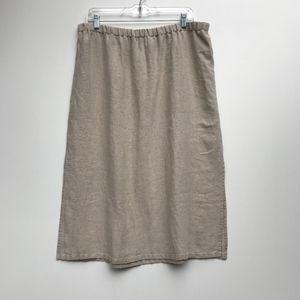 Eileen Fisher Tan Linen Midi Skirt Size Large